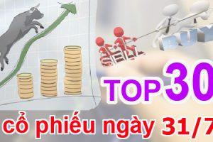 TOP 30 cổ phiếu mạnh nhất và những cổ phiếu khuyến nghị ngày 31/7