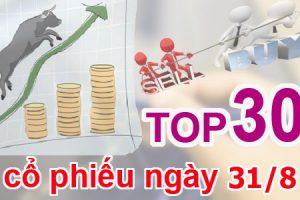 TOP 30 cổ phiếu mạnh nhất và những cổ phiếu khuyến nghị ngày 31/8