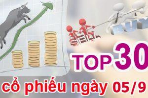 TOP 30 cổ phiếu mạnh nhất và những cổ phiếu khuyến nghị ngày 05/9
