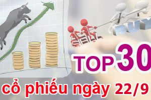 TOP 30 cổ phiếu mạnh nhất và những cổ phiếu khuyến nghị ngày 22/9
