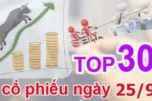 TOP 30 cổ phiếu mạnh nhất và những cổ phiếu khuyến nghị ngày 25/9