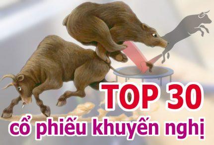 TOP 30 cổ phiếu mạnh và những cổ phiếu khuyến nghị ngày 22/03